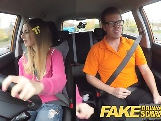 Dark-hued maid gets packed with milky jizm after a driving lesson pornvideo