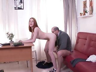Elder educator In Glasses gobbles puny Theme Of His schoolgirl sex tube