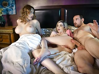FamilyStrokes - Busty Mom Caught Scrimp Fucking Daughter
