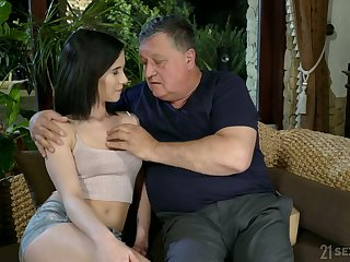 Old fart enjoys fucking lovely young brunette Nikki Fox plus cums in her indiscretion