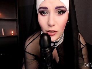 DollFaceMonica - Sinful nun dares to defend for Priest man milk
