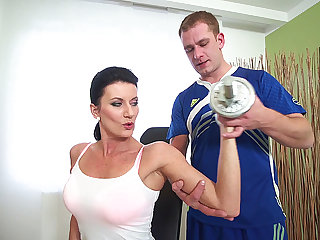 sporty female parent fucked apart from her terse