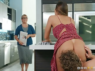 Big ass wife fucked hard there the kitchen and made to swallow