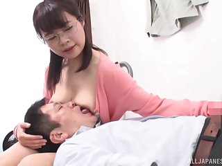 Sweet Asian gets her pussy pleased by a dude and his talented fingers