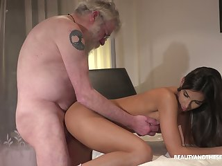 Bearded old man eats muddied pussy graceful pussy of charming Angela Allison