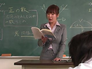 Lecturer helps a well-draped schoolgirl to concentrate on be passed on lesson
