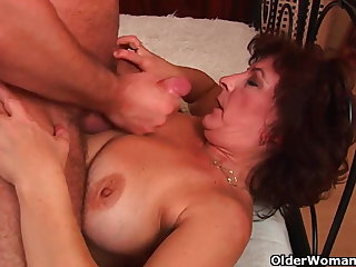 Grandma up big tits and hairy pussy gets facial
