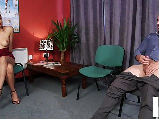 CFNM voyeur instructs jerkoff within reach doc office