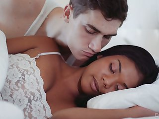 Lovely black GF Nia Nacci treats her BF with lunch and a good blowjob