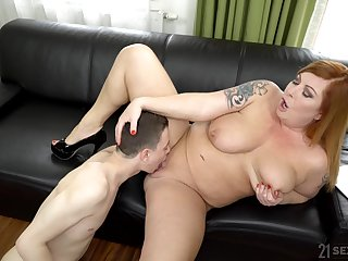 Chubby woman spreads legs for a young dear boy nearly fuck her