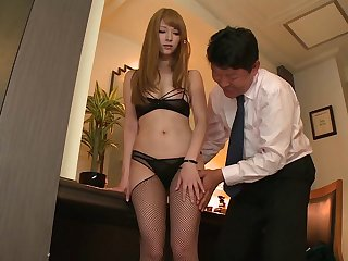 Shy Japanese wife Tia Bejean nearly stockings filmed for a first seniority