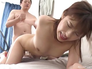 Japanese screams with vasty cock of her step dad fucking her good