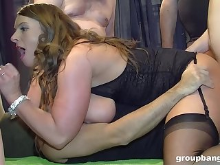 Sluts share on all sides of themselves during rough group banging