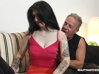 Elderly fart can't keep his hands off his stepdaughter's big tits
