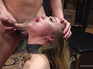 Complying looking blonde girl Lyra Simulate promised and facefucked, with a facial