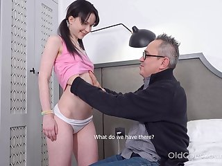Kinky pigtailed brunette Sweetie Plu is fucked apart from older man doggy