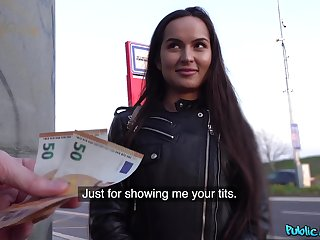 Euro floosie accepts cash for a round of sex in public