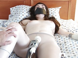 Stepsister gets toyed by a Hitachi while gagged