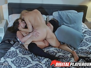 Full predilection for pussy between a  MILF and will not hear of step daughter