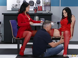 Office FFM threesome with cougars Katrina Jade and Payton Preslee