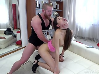 Bitch with rounded booty Anya Krey gives a proper blowjob and takes cock in anus