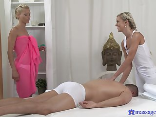 Overt blondes share this man in a glorious XXX trio