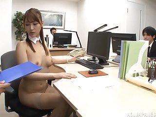 Cum loving slut Wanana Nao enjoys sucking multiple cocks in the place