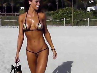 Extreme short bikini cameltoe series on run aground
