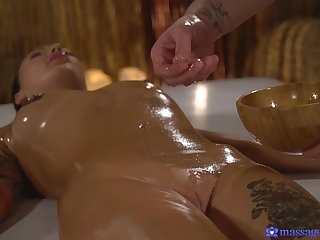 Nice fucking on the kneading table with oiled hottie Adel Asanty